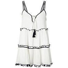 Buy Miss Selfridge Mono Trim Tiered Cami Top, White Online at johnlewis.com
