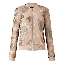 Buy Miss Selfridge Sequin Detail Bomber Jacket, Pale Pink Online at johnlewis.com