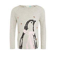 Buy John Lewis Girls' Penguin T-Shirt, Grey Online at johnlewis.com