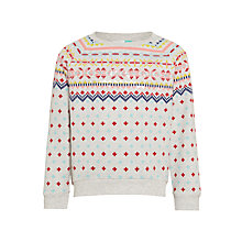 Buy John Lewis Girls' Fair Isle Sweatshirt, Grey Marl Online at johnlewis.com