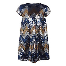 Buy John Lewis Girls' Zig Zag Sequin Dress, Navy Online at johnlewis.com