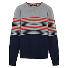 Buy Jaeger Pima Cotton Multi Stripe Jumper, Grey Melange Online at johnlewis.com