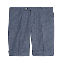 Buy Jaeger End on End Cotton Linen Slim Fit Shorts, Navy Online at johnlewis.com