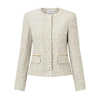 Helene For Denim Wardrobe Elle Concealed Zip Jacket, Stone Tweed