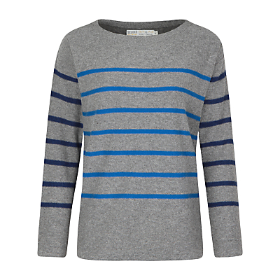 Seasalt Captain Stripe Jumper, Cookworthy Grey