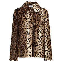 Buy Helene For Denim Wardrobe Animal Print Faux Fur Coat, Brown/Black Online at johnlewis.com