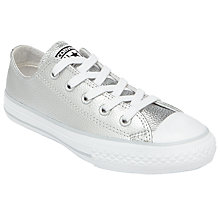 Buy Converse Children's Chuck Taylor All Star Lace Shoes, Silver Leather Online at johnlewis.com