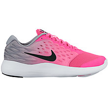 Buy Nike Children's Lunarstelos GS Trainers, Pink/Silver Online at johnlewis.com