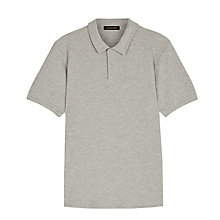 Buy Jaeger Waffle Knit Polo Shirt, Grey Melange Online at johnlewis.com