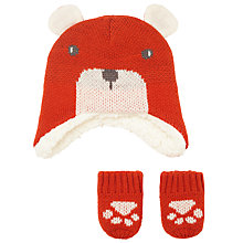 Buy John Lewis Baby Bear Character Hat and Mittens, Brown Online at johnlewis.com
