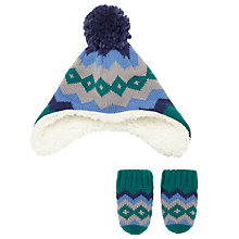 Buy John Lewis Baby Fair Isle Trapper Hat and Mittens, Green Online at johnlewis.com