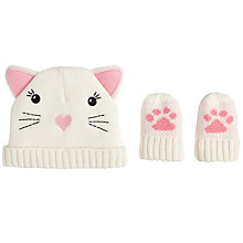 Buy John Lewis Baby Cat Character Hat and Mittens, Cream Online at johnlewis.com