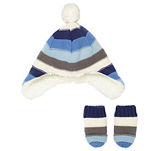 Buy John Lewis Baby Stripe Trapper Hat and Mittens Online at johnlewis.com