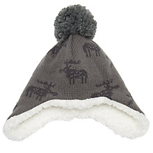 Buy John Lewis Baby Reindeer Trapper Hat, Grey Online at johnlewis.com