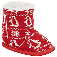Buy John Lewis Baby Fair Isle Booties, Red/White Online at johnlewis.com