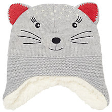 Buy John Lewis Baby Knitted Cat Character Hat, Grey/Multi Online at johnlewis.com