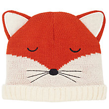 Buy John Lewis Baby Knitted Fox Character Hat, Orange Online at johnlewis.com