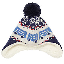 Buy John Lewis Baby Fair Isle Bus Motif Trapper Hat, Blue/Multi Online at johnlewis.com
