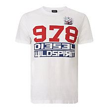 Buy Diesel T-Diego-IW Bold Print T-Shirt, Bright White Online at johnlewis.com