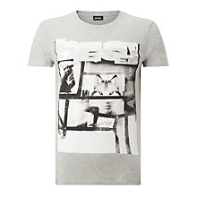 Buy Diesel T-Diego-HF Print T-Shirt, Light Grey Melange Online at johnlewis.com