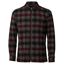 Buy Selected Homme Zipper Long-Sleeve Check Shirt Jacket, Grey/Wine Online at johnlewis.com