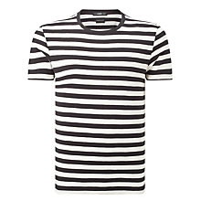 Buy Selected Homme Stripe Structured T-Shirt, Black/White Online at johnlewis.com