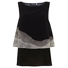 Buy Mint Velvet Amber Trapeze Top, Black/Stone Online at johnlewis.com