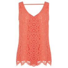 Buy Oasis Lace V-Front And V-Back Vest, Coral Online at johnlewis.com