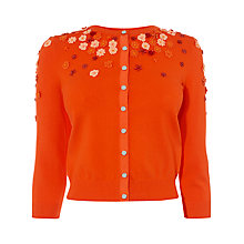 Buy Karen Millen Scattered Flower Cardigan, Orange Online at johnlewis.com