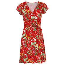 Buy Oasis Paradise Ruffle Dress, Mid Red Online at johnlewis.com