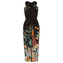Buy Warehouse Pattern Jungle Midi Dress, Multi Online at johnlewis.com