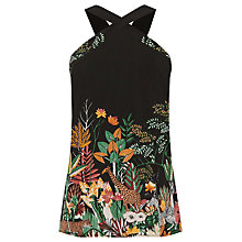 Buy Warehouse Jungle Print Halter Neck Top, Black Online at johnlewis.com