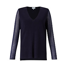 Buy Jigsaw Sheer Sleeve V-Neck Jumper Online at johnlewis.com
