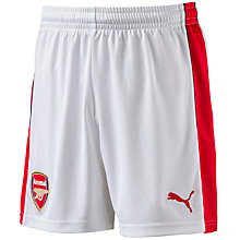Buy Puma Children's Arsenal F.C. 2016/17 Home Football Shorts, White Online at johnlewis.com