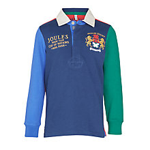 Buy Little Joule Boys' Try Colour Block Rugby Shirt, Multi Online at johnlewis.com