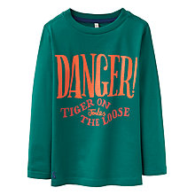 Buy Little Joule Boys' Junior Finlay Tiger Jersey Top, Green/Orange Online at johnlewis.com
