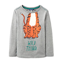 Buy Little Joule Boys' Junior Jack Tiger Jersey Top, Grey Online at johnlewis.com