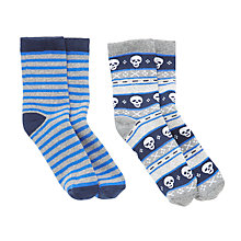 Buy John Lewis Children's Skull Stripe Thermal Socks, Pack of 2, Multi Online at johnlewis.com