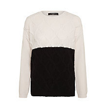 Buy Weekend MaxMara Panarea Contrast Cable Knit Jumper, Ivory/Black Online at johnlewis.com
