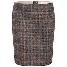 Buy Oui Soft Bonded Plaid Skirt, Black Brown Online at johnlewis.com