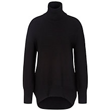 Buy Oui Dropped Back Longline Roll Neck Jumper, Black Online at johnlewis.com