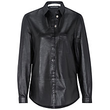 Buy Oui Leather Shirt, Black Online at johnlewis.com
