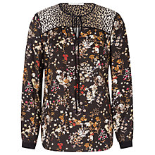 Buy Oui Printed Blouse, Black/White Online at johnlewis.com