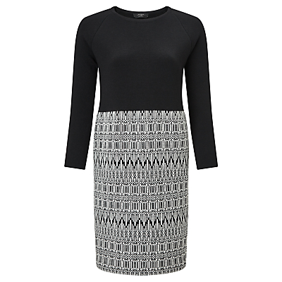 Weekend MaxMara Badia Knitted Jacquard Dress, Black/White