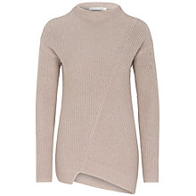 Buy Oui Asymmetric Ribbed Jumper, Light Taupe Online at johnlewis.com