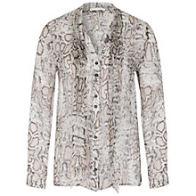 Buy Oui Snake Print Silk-Blend Blouse, Off White/Brown Online at johnlewis.com