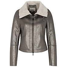 Buy Oui Faux Shearling Lined Biker Jacket, Old Silver Online at johnlewis.com