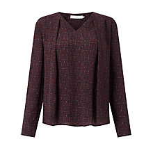 Buy John Lewis Laura City Print Pleat Top, Burgundy Online at johnlewis.com