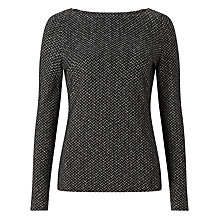 Buy John Lewis Long Sleeve Herringbone Top, Dark Grey Online at johnlewis.com