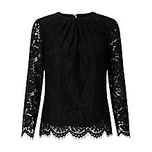 Buy John Lewis Lace Pleat Detail Three-Quarter Sleeve Top, Black Online at johnlewis.com